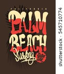 palm beach california t shirt... | Shutterstock .eps vector #545710774