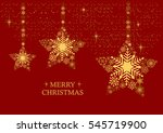 golden christmas stars with... | Shutterstock .eps vector #545719900