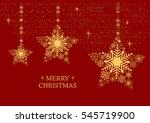 golden christmas stars with... | Shutterstock .eps vector #545719900