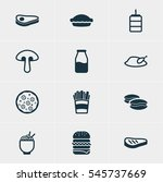 illustration of 12 dish icons.... | Shutterstock . vector #545737669
