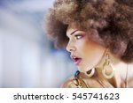 profile of a  retro styled girl ... | Shutterstock . vector #545741623
