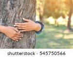 Women Hug Big Tree Color Of...