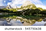 Small photo of Panorama view of Seebensee lake and Ehrwalder Sonnenspitze mountain (2417m amsl) near Zugspitze in the state of Tirol / Tyrol in Austria.The lake is a popular hiking destination for tourists.