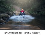 woman on atv on the mountains...   Shutterstock . vector #545778094