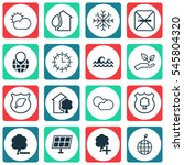 set of 16 eco friendly icons.... | Shutterstock .eps vector #545804320