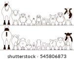 farm animals border set  front... | Shutterstock .eps vector #545806873