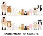 farm animals border set  front... | Shutterstock .eps vector #545806876