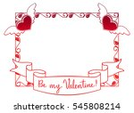 valentine label with roses and... | Shutterstock . vector #545808214