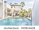 luxury pool side near modern... | Shutterstock . vector #545814628