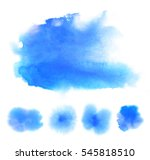 set of bright blue watercolor... | Shutterstock . vector #545818510