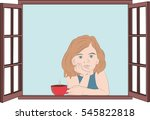 girl sitting at the window with ... | Shutterstock .eps vector #545822818