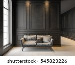 sofa in classic black interior. ... | Shutterstock . vector #545823226
