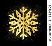 gold christmas snowflake icon.... | Shutterstock . vector #545834608