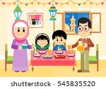a muslim middle eastern family... | Shutterstock .eps vector #545835520