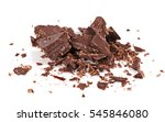 pile chopped chocolate isolated ... | Shutterstock . vector #545846080
