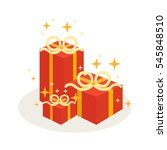 set of gift box with the... | Shutterstock .eps vector #545848510