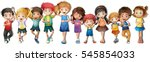 many children with happy face... | Shutterstock .eps vector #545854033