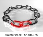 3d illustration of broken chain - red link - stock photo