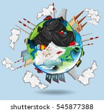 world full of pollutions and... | Shutterstock .eps vector #545877388
