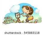 child painting a canvas   Shutterstock . vector #545883118