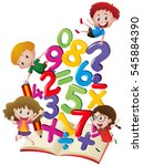 many children with numbers in... | Shutterstock .eps vector #545884390