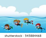 four kids scuba diving under... | Shutterstock .eps vector #545884468