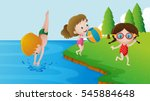 three kids swimming in the lake ... | Shutterstock .eps vector #545884648
