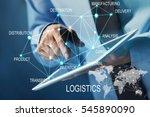 logistics concept. man with... | Shutterstock . vector #545890090