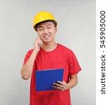 asian warehouse worker talking...   Shutterstock . vector #545905000
