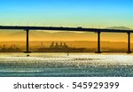City of San Diego California United States of America pacific ocean bay historical skyline landscape view of Coronado Bridge silhouette US navy naval base Tijuana Mexican hill cityscape background