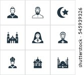 set of 9 simple faith icons.... | Shutterstock .eps vector #545939326
