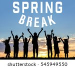 Small photo of Text SPRING BREAK and children silhouettes on sunset background. Additional education concept