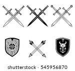 sword weapon shield arrow... | Shutterstock .eps vector #545956870