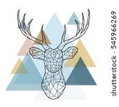 geometric reindeer illustration....   Shutterstock .eps vector #545966269