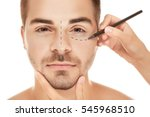 surgeon drawing marks on male... | Shutterstock . vector #545968510