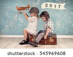 happy kids playing with vintage ... | Shutterstock . vector #545969608