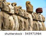 moai at ahu tongariki  the... | Shutterstock . vector #545971984