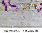 carnival confetti on wood... | Shutterstock . vector #545983948