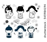 Kokeshi Dolls In Black And...