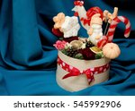 wooden basket with flowers and... | Shutterstock . vector #545992906