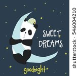 sweet dreams panda vector... | Shutterstock .eps vector #546004210