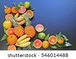 bananas  pineapples  mandarins  ... | Shutterstock . vector #546014488