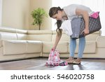 woman with laundry basket... | Shutterstock . vector #546020758
