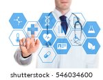 medical doctor touching virtual ... | Shutterstock . vector #546034600