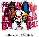 portrait of french bulldog... | Shutterstock .eps vector #546039493