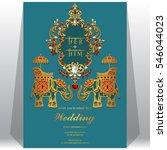 indian wedding invitation card...   Shutterstock .eps vector #546044023