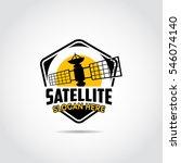 satellite logo template.... | Shutterstock .eps vector #546074140