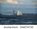 Sail Ship On Hudson River With...