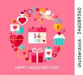 happy valentines day flat...   Shutterstock .eps vector #546089560