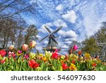 Dutch Windmill And Colorful...